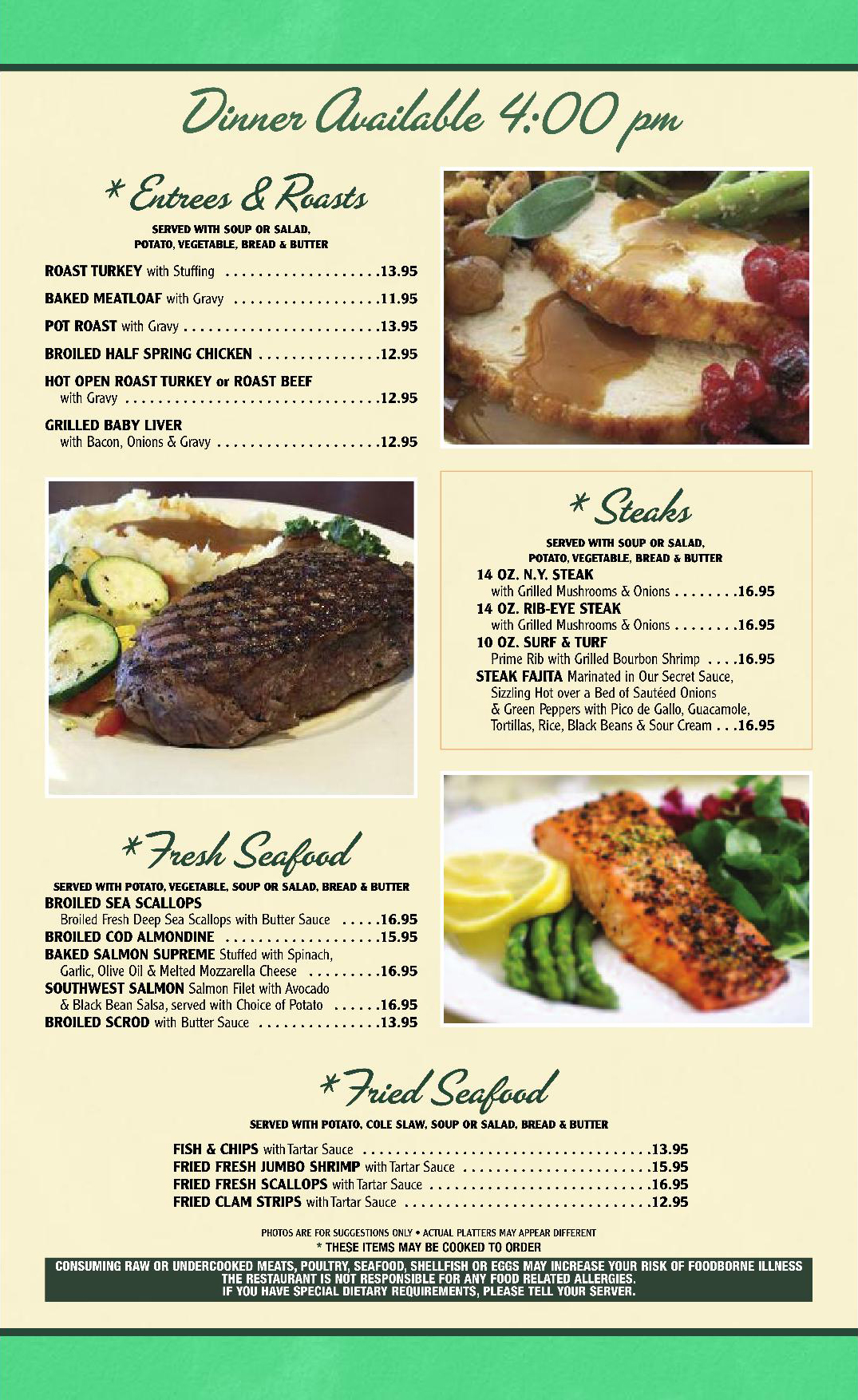 Menu Specials and Dinner